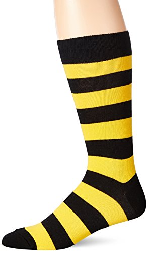 Hot Sox Men's Fashion Pattern Slack Crew Socks, College Rugby Stripe (Black/Sport Yellow), Shoe Size: -
