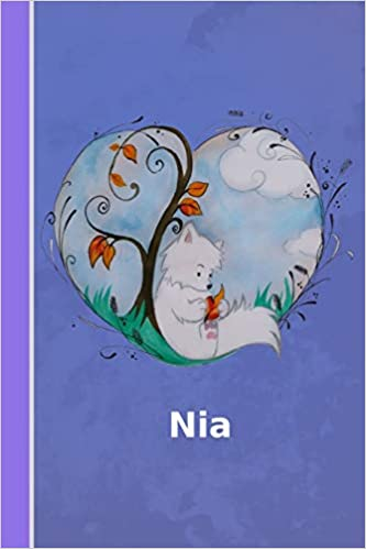 Nia: personalized notebook | illustration fox with heart ...