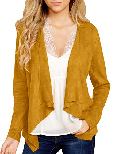 Soulomelody Womens Faux Suede Light Jackets Open Front Fall Long Sleeve Casual Lapel Trench Coats Yellow