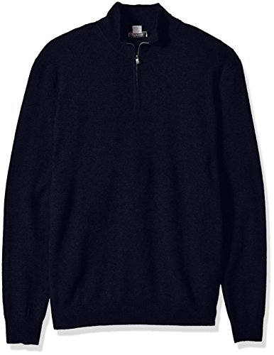 Phenix Cashmere Big Men's 100% Cashmere 1/4 Zip Sweater with Tipping, Navy, 4X-Large Tall
