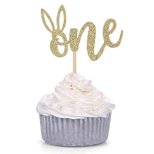 24 Counts Some Bunny is One Cupcake Toppers Bunny Ear Easter First Birthday Party Decorations