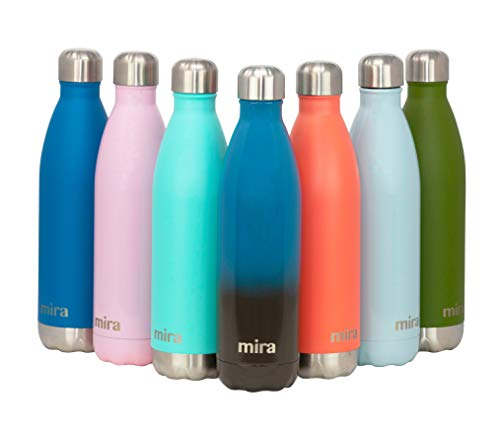 MIRA Stainless Steel Vacuum Insulated Water Bottle | Leak-Proof Double Walled Cola Shape Bottle | Keeps Drinks Cold for 24 Hours & Hot for 12 Hours (Blue Lava, 25 oz)