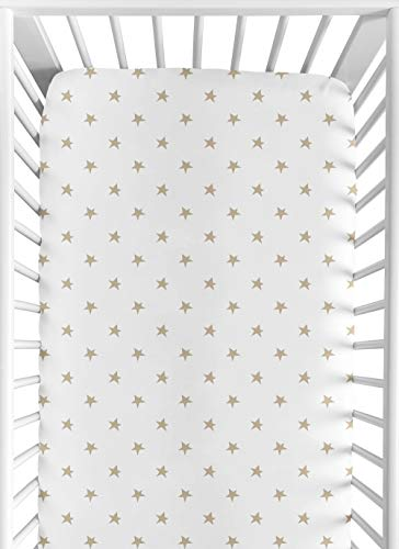 Gold and White Star Baby or Toddler Fitted Crib Sheet for Celestial Collection by Sweet Jojo Designs (White Crib Sheet With Gold Polka Dots)