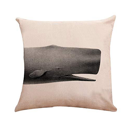 (MaxFox Shark Printed Throw Pillow Cover Square Toss Cotton Linen Pillow Case Cushion for Office Home Room Car Decor (D) )