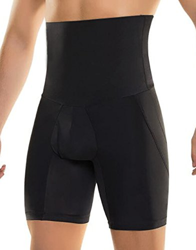 Bslingerie Mens Slimming High Waisted Body Stomach Shaper Briefs Butt Lifter (L, Black Shorts) by Bslingerie