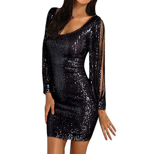 ♛TIANMI Women's Fashion Sexy Sparkle Glitzy Glam Sequin Tassel Dress Ladies Long Sleeve Flapper Party Club Dresses Black