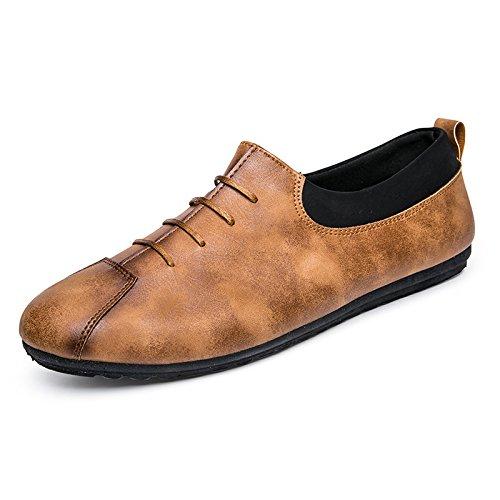WZG Los guisantes de la manera calza los calzados informales de los nuevos hombres ligeros zapatos perezosos de los zapatos planos de la juventud salvaje Brown