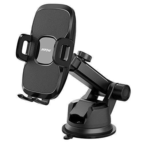 Mpow Car Mount Holder, Universal Dashboard Car Phone Mount, Windshield Car Phone Holder, Washable Gel Pad Compatible iPhone XR,XS Max,X,8, Galaxy S10,S9,S8,S7, Google, One Plus, Moto, Black