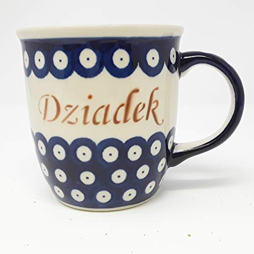 Dziadek - Grandpa Mug - 100% Authentic Polish Pottery - Blue Flowers - 12 oz (Dziadek - Grandpa)