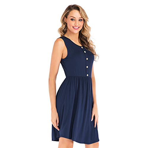 Trendypie Women's Summer Sleeveless Solid Cotton Casual Loose Swing Dress Plain Pleated T-Shirt Dress Knee Length Button Party Dress Beach Sundress with Pockets ()