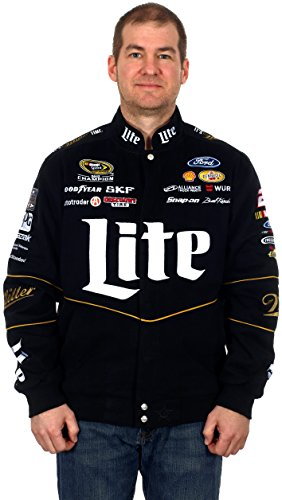 Brad Keselowski #2 Miller Lite Black Cotton Twill NASCAR Racing Jacket - Indianapolis Winners 500
