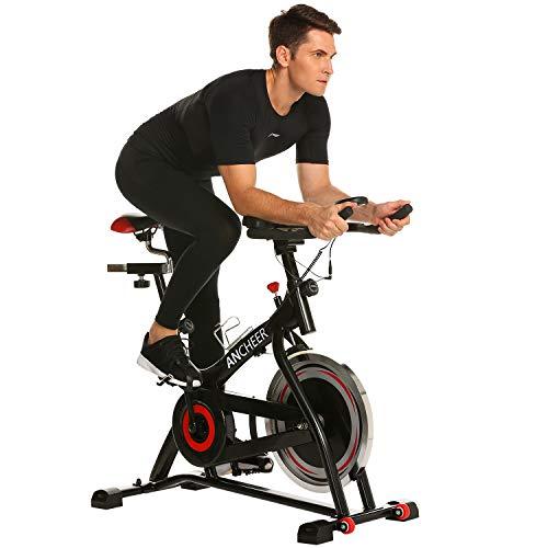 ANCHEER Stationary Bike, Indoor Cycling Exercise Bike 40 LBS Flywheel (Black_Pulse)