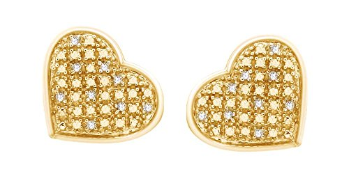 0.02 Ct Heart (White Natural Diamond Heart Stud Earrings in 14k Yellow Gold Over Sterling Silver (0.02)