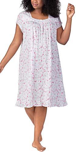 Eileen West Women's Plus Size Cotton Modal Jersey Short Nightgown White Ground Viney Floral 3X