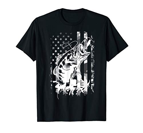 Fishing Tees Camouflage USA Flag for Bass Fisherman Gifts