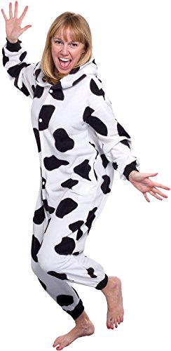 a9eadb6000c5 Silver Lilly Unisex Adult Pajamas - Plush One Piece Cosplay Cow ...