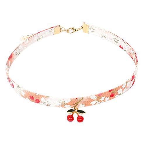 Petit Tourbillon Choker Necklace Japanese Style Cute Velvet Choker Necklace Set Blue Clover, Tassel, Cherry, Blossom Chain for Girls and Women 4 pcs