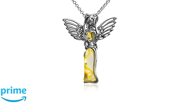 Multicolor Amber Sterling Silver Bird Pendant Necklace 18 Inches