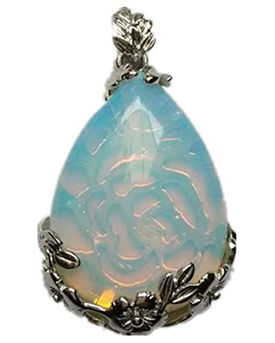 yuteng Beautiful Wire Wrap Man-Made Opal Opalite Teardrop Pendant ()