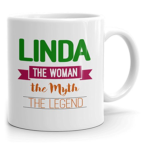 Personalized Linda Mug - The Woman The Myth The Legend - Gifts for Women, Wife, Mom, Girlfriend - 11oz White Mug - Green