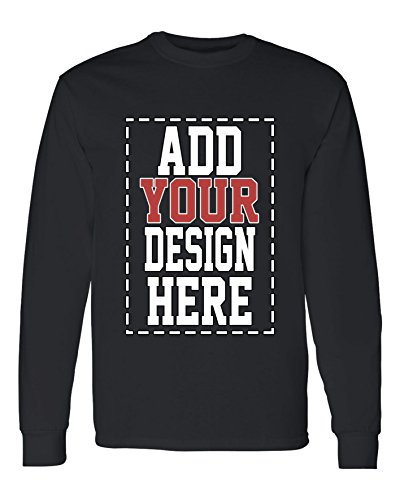 Custom Long Sleeve Shirts for Men - Make Your OWN Shirt - Add Your Design Picture Photo Text Printing Custom Long Sleeve Tee