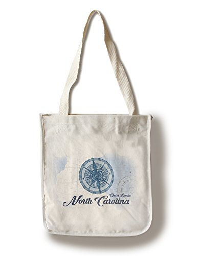 Outer Banks  North Carolina   Compass   Blue   Coastal Icon  100  Cotton Tote Bag   Reusable  Gussets  Made In America