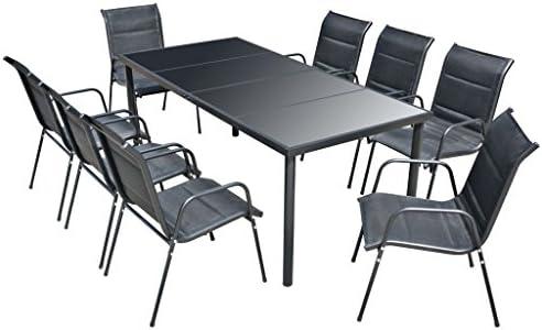 vidaXL Comedor de Jardín 9 Piezas Negro Muebles de Exterior Mesa ...