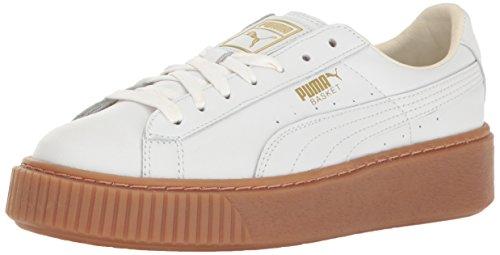 PUMA Women's Basket Platform Core Sneaker, White White,7.5 M US