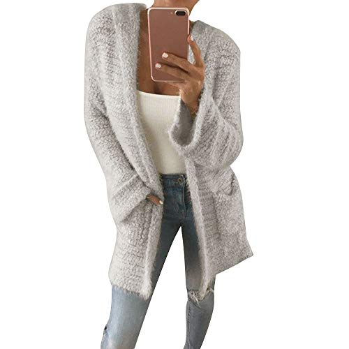 STORTO Womens Soft Knit Cardigan,Solid Hooded Coat Winter Warm Overcoat with Pocket Gray
