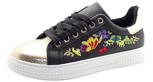 Trainers Ladies Shoes Black Pumps Floral Plimsolls Embroidered zWarxnz