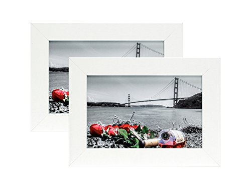 Frametory, 4x6 Inch Set of 2 White Picture Frame - Made to Display Pictures 4x6 Photo - Wide Molding - Preinstalled Wall Mounting Hardware (4x6, Set of 2, White)
