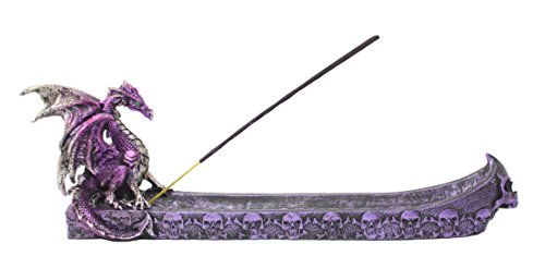 Mythical Purple Western Fire Dragon Incense Burner Holder Dark Legend Halloween Medieval Magical Party Home Decor Gift