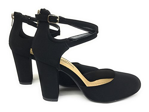 City Classified Womens Anytime Closed Toe Ankle Strap Back Zipper Heel Pump Sandals (6 B(M) US, Black Nubuck PU)