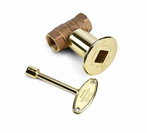 Straight Gas Valve - Hearth Products Controls (HPC) 1/2-Inch Straight Gas Fire Pit Shut Off Valve Kit (MSBB), Polished Brass Flange and Key