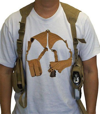 - Tactical Cross Draw Shoulder Pistol Gun Holster - TAN