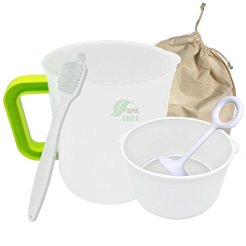 Nut Milk Bag Stainless Steel strainer with Pitcher, Stainless Steel Fine Mesh Filter Bonus Faster Pressing and Stick Brush for Juicing, Sprouting and (Stainless Steel Milk Strainer)