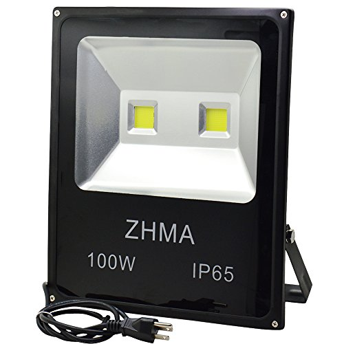 Bq Light - ZHMA 100W LED Flood Lights, Outdoor light with 2X50W Sufficient Wattage LED CHIP Floodlight With US 3-Plug,250W HPS Bulb Equivalent,Daylight White, 6000K, Waterproof Security Lights