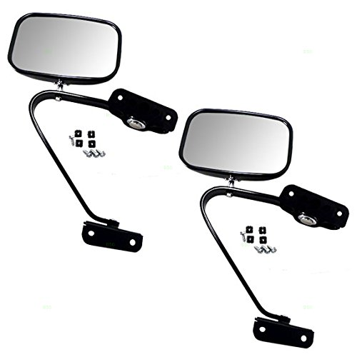 Pair of Manual Side View Black Steel Mirrors Replacement for Ford Pickup Truck SUV E4TZ17682A ()