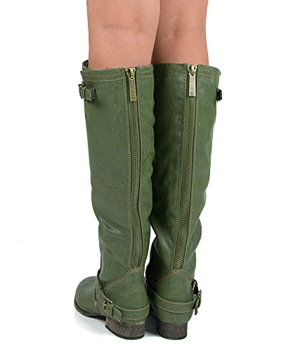11 6 Green Military High Leather Boots Toe Vegan Motorcycle Breckelles Outlaw Round Knee 54f74qxp