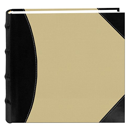 Pioneer High Capacity Sewn Fabric and Leatherette Cover Photo Album, Black on Beige by Pioneer Photo Albums