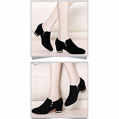 Mujer Tacón Shoes De Negro Sueltos Xiaolin Alto Zapatos wZZztqHC