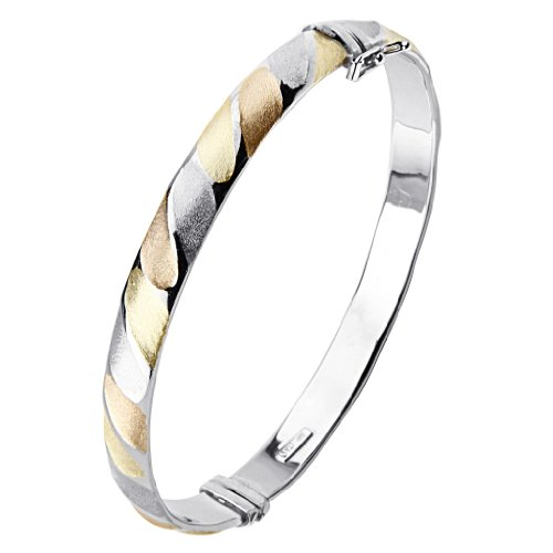 .925 Sterling Silver 7.5mm Thickness Twisted Design Tri Color Rhodium Plated Oval Shape Bangle Bracelet with Slide with Latch Clasp (Sterling Silver Tri Color Bracelet)