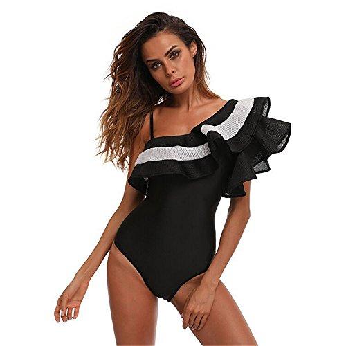 Bagno Donna Swimwear Alta Vita colore Dimensione Da Costume Monokini Nero A Spalla Intero Nero Falbala Xl Lyq Queen wtqIYnA