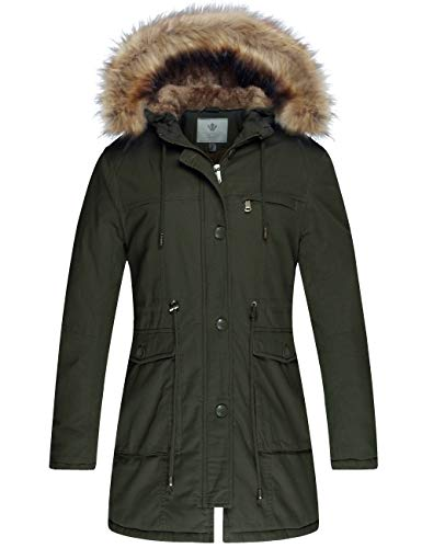 WenVen Women's Winter Warm Jacket Fleece Cotton Military Coat(Army Green-1,M)