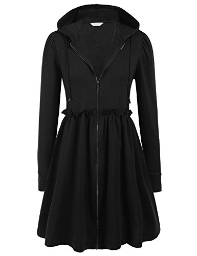 Elesol Womens Long Sleeve Zip Up Hoodie Cardigan Loose Ruffle Dress Coat Long Jacket Black/S - Long Ruffle Tiered Dress