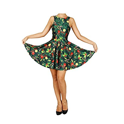 pink queen womens christmas gift green tree skater dress a line flared dresses pattern 4 one size - Christmas Tree Dress