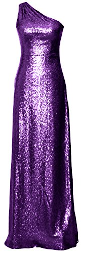 MACloth Women One Shoulder Long Bridesmaid Dress 2017 Sequin Formal Evening Gown Morado