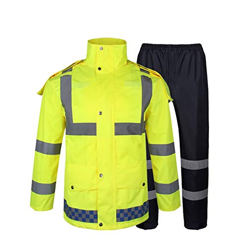 DEduo Reflective Clothing Outdoor Fluorescent Yellow Traffic Safety Reflective Warning Suit Split Suit Raincoat rain Pants high Visibility Reflective Raincoat (Color : Fluorescent Yellow, Size : XXL) ()