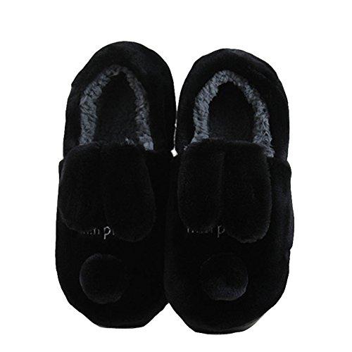 Btrada Donna Inverno Accogliente Foderato In Cotone Pantofole Pantofole Cane Cane Allaperto Coperta Mocassino Paio Pantofole Nero