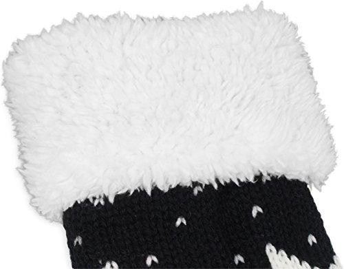 Schöne warme Kuschelige Pantoffeln mit Laufsohle Norweger / Schwarz